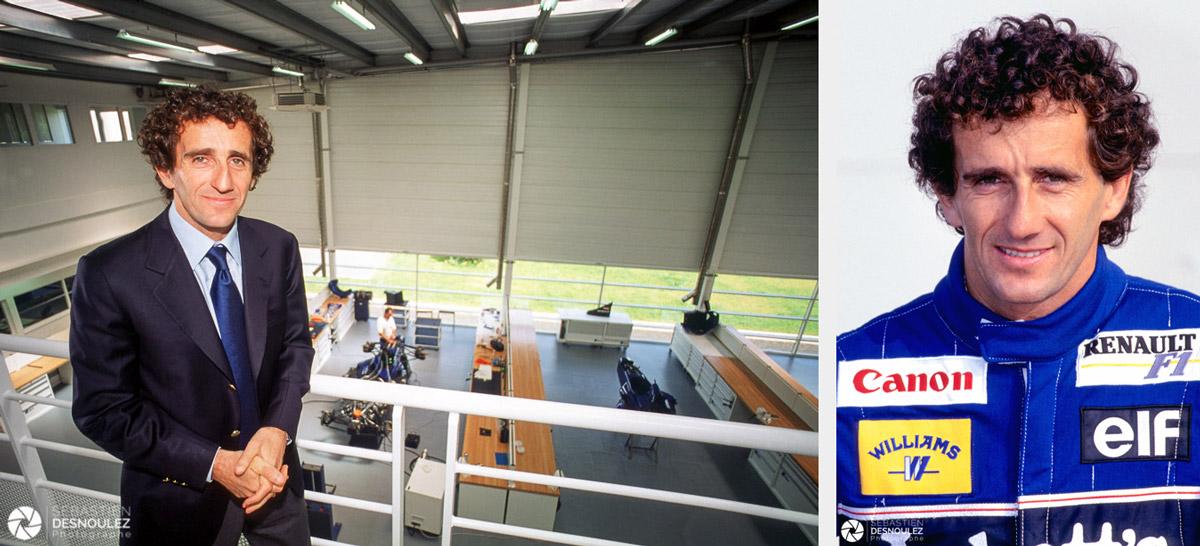 <strong>Alain Prost<span><br /><small><figcaption>Portrait People - Alain Prost dans les ateliers de  Prost Grand-Prix F1 – Guyancourt – 12/06/1998 et au GP France F1 1993 à Magny-Cours -  Photos : © Sebastien Desnoulez</figcaption><small><br /><b>voir en plein écran</b></span></strong><i>→</i>