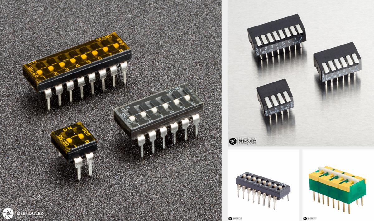 <strong>Packshot catalogue industriel<span><br /><small><figcaption>Mini switches pour circuits imprimés conçus et fabriqués par la société EOZ  photographiés en studio pour utilisation web et catalogue print - Photos : ©Sebastien Desnoulez</figcaption><small><br /><b>voir en plein écran</b></span></strong><i>→</i>