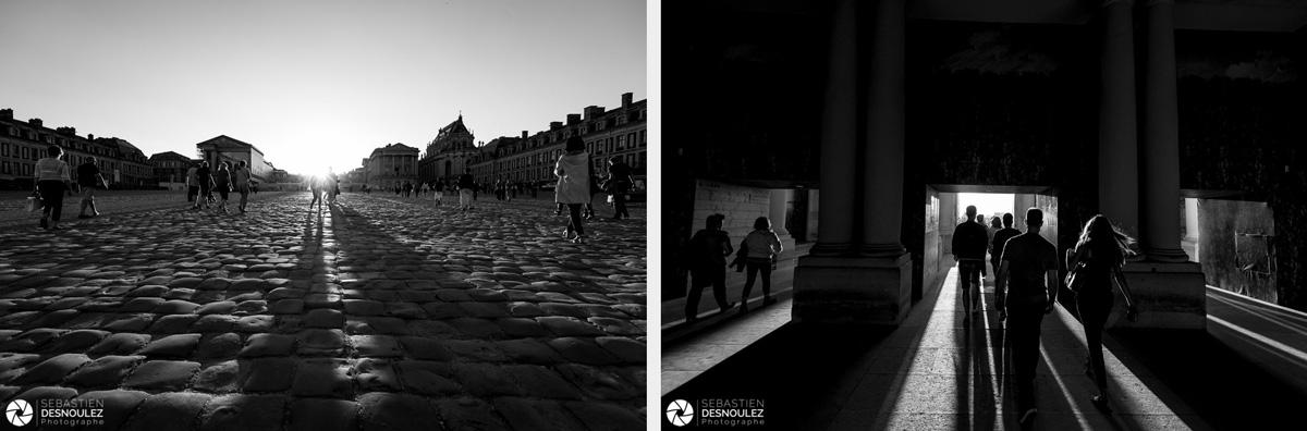 <strong>Ambiances<span><br /><small><figcaption>Cour du Château de Versailles et passage vers les jardins - Photos en noir et blanc de Sebastien Desnoulez</figcaption><small><br /><b>voir en plein écran</b></span></strong><i>→</i>