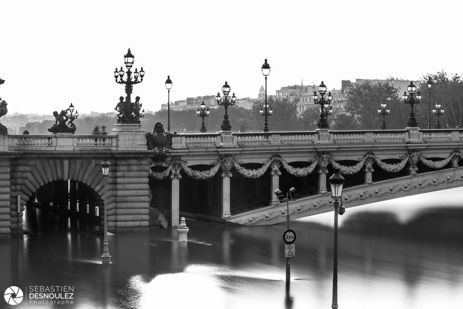 <strong>La Seine à Paris<span><br /><small><figcaption>Les voies sur berges inondées par la Seine en crue sous le Pont Alexandre III, juin 2016 - Photo : © Sebastien Desnoulez</figcaption><small><br /><b>voir en plein écran</b></span></strong><i>&rarr;</i>