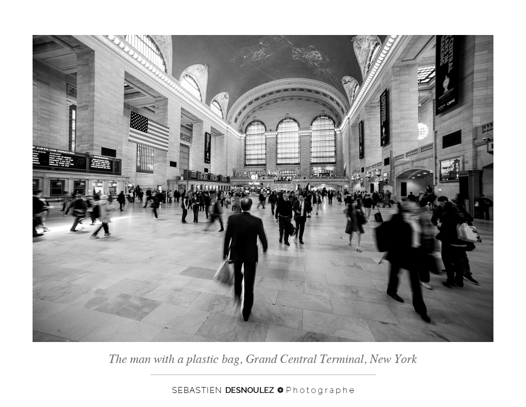 <strong>Galerie Photo Noir et Blanc<span><br /><small><figcaption>The man with a plastic bag - L homme au sac plastique - Grand Central Terminal, New York, USA - Photo : © Sebastien Desnoulez</figcaption><small><br /><b>voir en plein écran</b></span></strong><i>&rarr;</i>