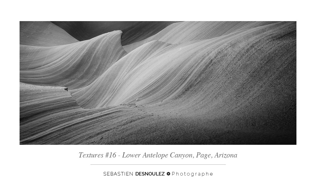 <strong>Lower Antelope Canyon textures<span><br /><small><figcaption>#16 sandstone texture of the Lower Antelope Canyon in Page, Arizona - Photo : © Sebastien Desnoulez</figcaption><small><br /><b>voir en plein écran</b></span></strong><i>&rarr;</i>
