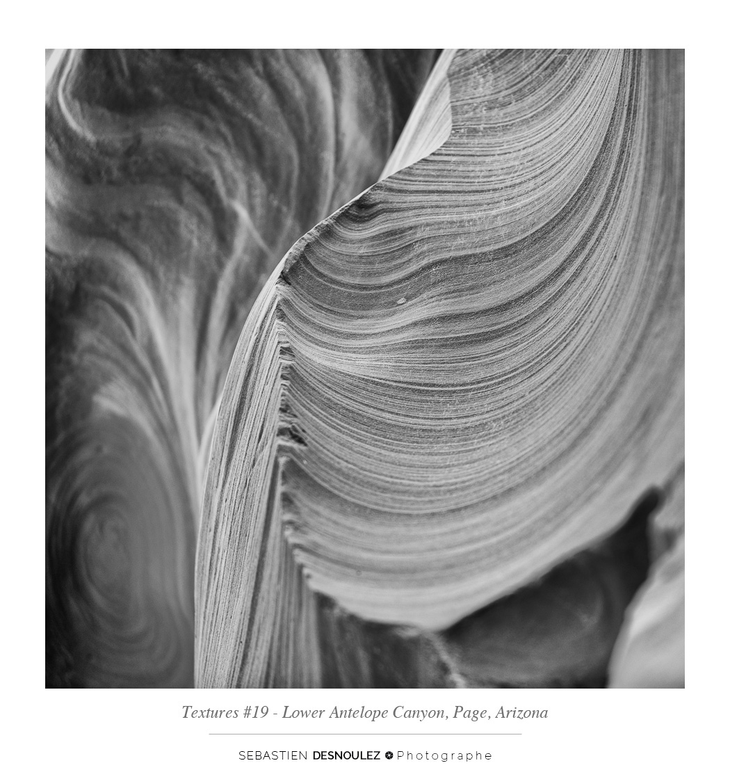 <strong>Lower Antelope Canyon textures<span><br /><small><figcaption>#19 sandstone texture of the Lower Antelope Canyon in Page, Arizona - Photo : © Sebastien Desnoulez</figcaption><small><br /><b>voir en plein écran</b></span></strong><i>&rarr;</i>
