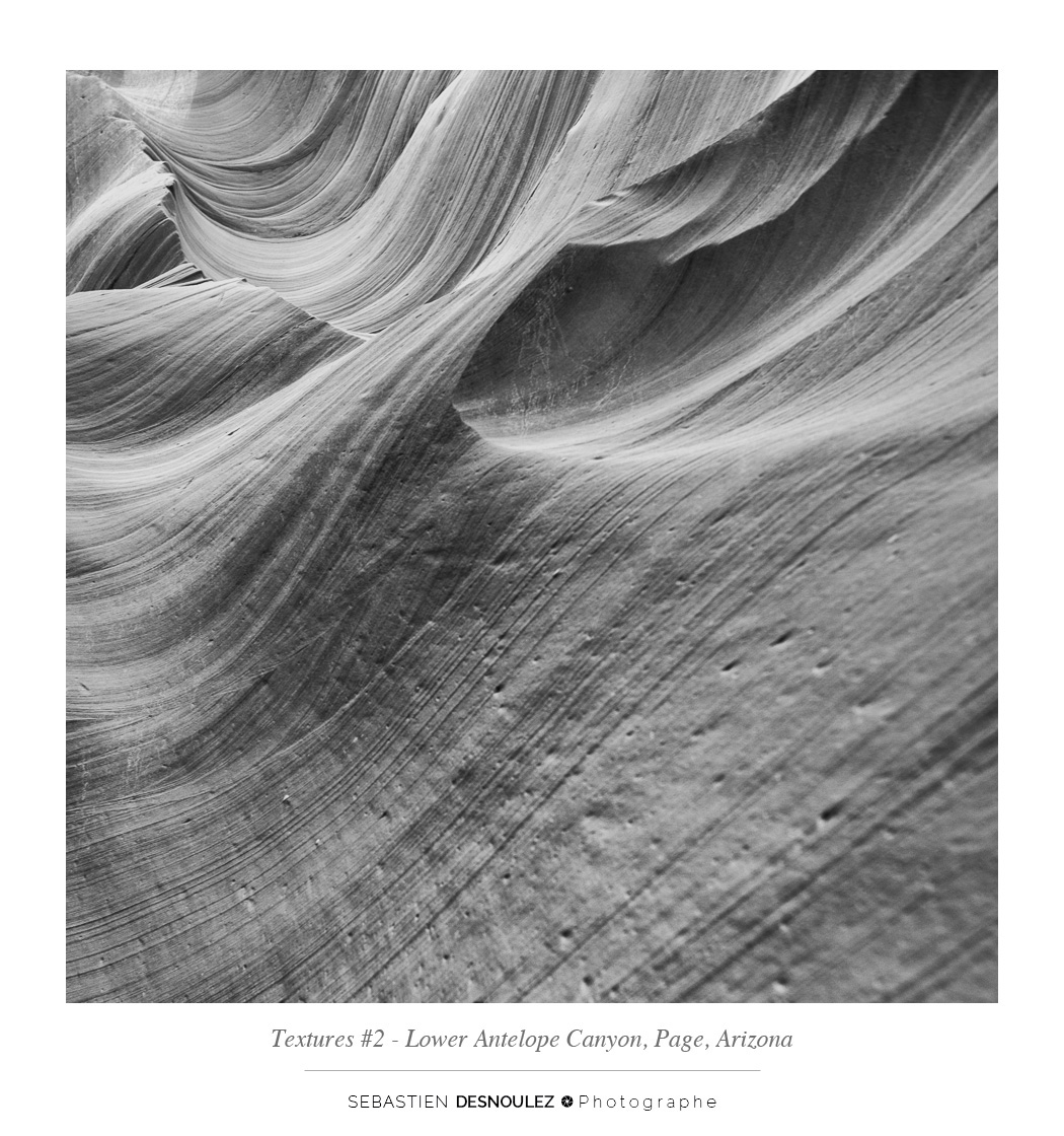 <strong>Lower Antelope Canyon textures<span><br /><small><figcaption>#2 sandstone texture of the Lower Antelope Canyon in Page, Arizona - Photo : © Sebastien Desnoulez</figcaption><small><br /><b>voir en plein écran</b></span></strong><i>&rarr;</i>