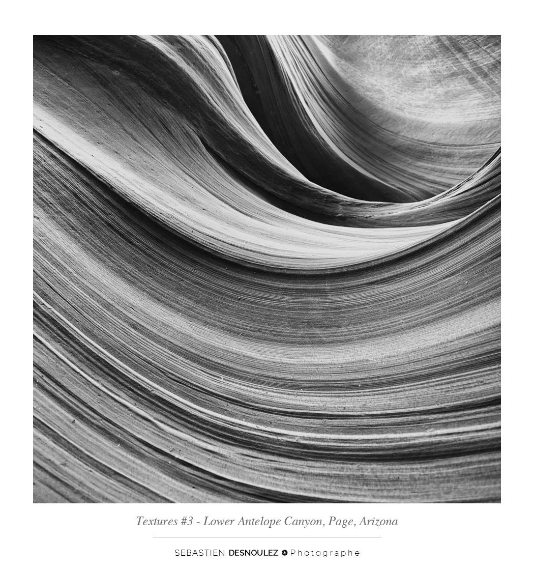 <strong>Lower Antelope Canyon textures<span><br /><small><figcaption>#3 sandstone texture of the Lower Antelope Canyon in Page, Arizona - Photo : © Sebastien Desnoulez</figcaption><small><br /><b>voir en plein écran</b></span></strong><i>&rarr;</i>