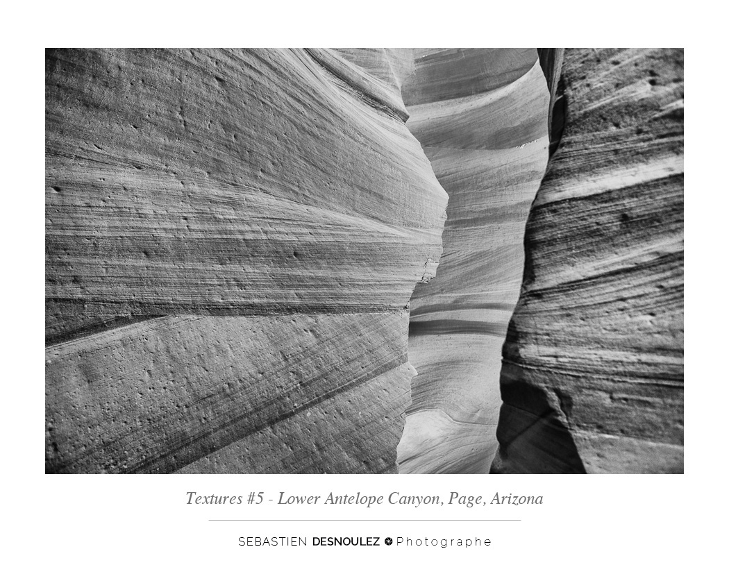 <strong>Lower Antelope Canyon textures<span><br /><small><figcaption>#5 sandstone texture of the Lower Antelope Canyon in Page, Arizona - Photo : © Sebastien Desnoulez</figcaption><small><br /><b>voir en plein écran</b></span></strong><i>&rarr;</i>