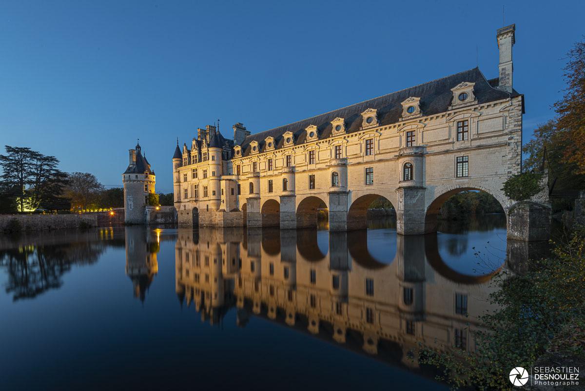 Château de Chenonceau à la tombée de la nuit